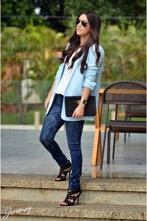 blue local brand jeans - sky blue Forever 21 blazer - black Local store bag