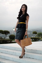 black Forever 21 skirt - mustard Michael Kors bag - yellow Aldo belt