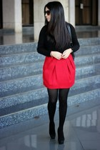 red Forever21 skirt - black Lulus jacket - brown Urban Outfitters sunglasses