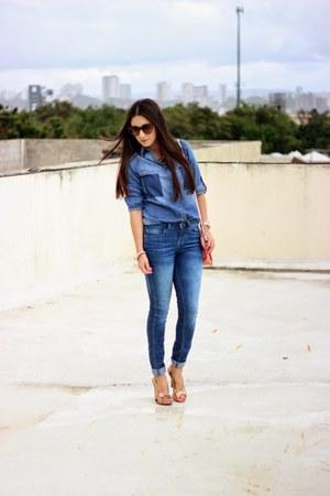 blue Zara jeans - blue thrifted vintage shirt