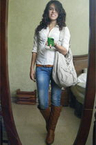 white BCBG t-shirt - blue Zara jeans - beige Guess purse - brown Forever 21 boot