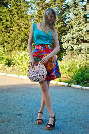 red DIY skirt - turquoise blue Jennifer top
