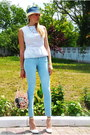 Sky-blue-bershka-jeans-navy-centro-hat-beige-diy-bag-white-diy-top