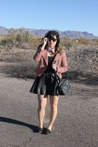 black leather H&M dress - pink tweed Topshop jacket - black sam edelman loafers