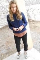 navy Topshop jumper - black Zara pants - bronze Forever 21 blouse