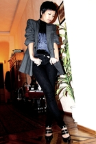 gray Adam for Mango jacket - black Mums top - black Mango jeans - black Sobys sh