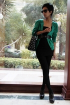 green cardi Marc Jacobs - black bandage dress asoscom - black studded bag dior