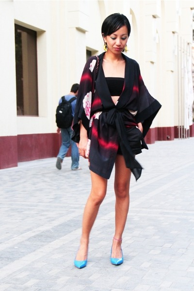 black silk kimono Mango jacket - blue Aldo shoes - red classic flap Chanel bag