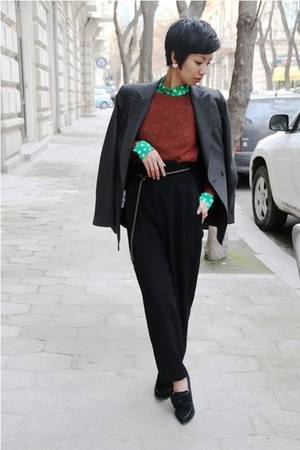 green Miu Miu blouse - burnt orange Mango sweater
