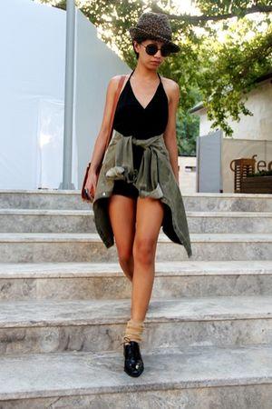 Mango hat - black emporio armani - black DIY - Zara - brown Zara - black Osvaldo