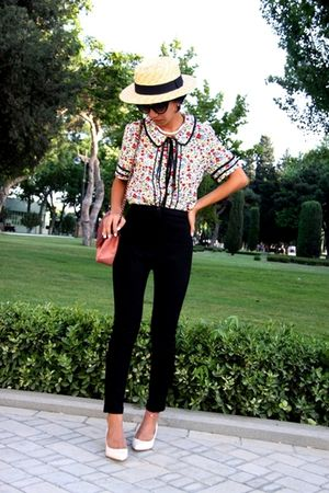 beige boater hat - shoes - black cigarette pants custom made
