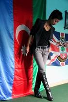 gray asoscom - black top Mango - gray skinny jeans JLO by jennifer Lopez
