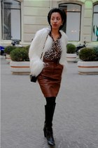 black knee high Marc Jacobs boots - white shaggy fur Zara coat - brown leopard p
