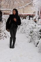 black H&M coat - black Topshop - gray Topshop - Topshop - black H&M - black Sabi