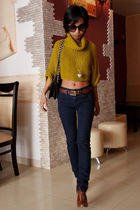 brown gold snake Gucci belt - brown H&M shoes - navy skinny Topshop jeans