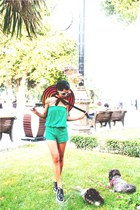 blue Prada shoes - carrot orange striped Prada hat - green romper Mango shorts