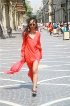 red Zara dress - blue Topshop earrings - black Melissa sandals