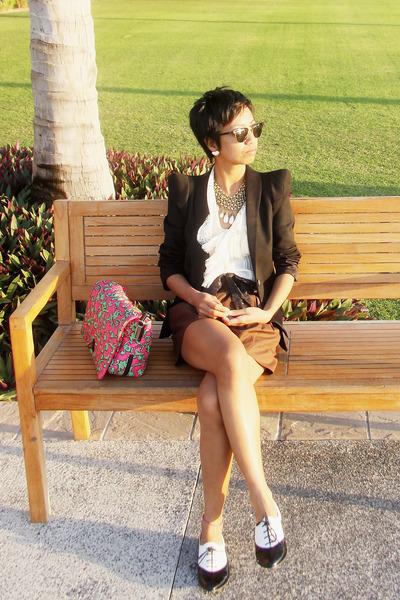 pinkgreen Marc Jacobs bag - black Zara blazer - brown donna karan shorts