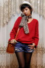 Red-vintage-ebay-sweater-blue-diy-shorts-brown-h-m-shoes-brown-zara-acce