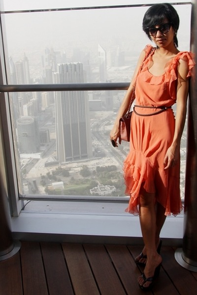 Zara belt - black over sized ring f21 - orange chiffon dress John Galliano