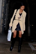 beige donna karan coat - black Mango shirt - Mango cardigan - black Mango shorts