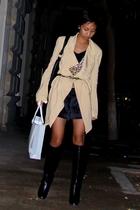 beige donna karan coat - black Mango shirt - Mango cardigan - black Mango shorts