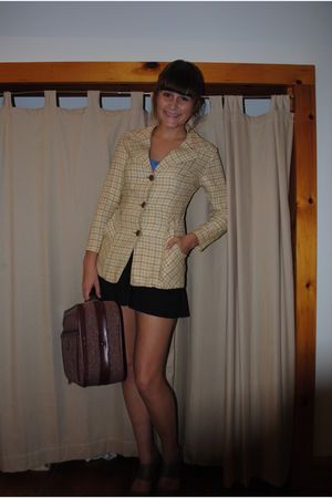 beige shoes - black skirt - red bag - yellow coat - blue top