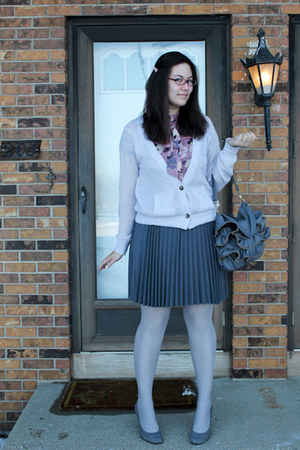 periwinkle American Eagle cardigan - charcoal gray pins and needles skirt - pink