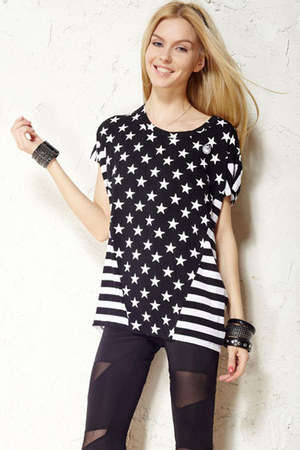 black romwe tights - white romwe t-shirt