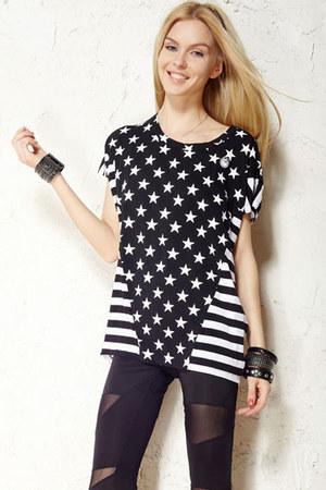 black romwe tights - white romwe t-shirt