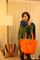 my other bag is bag - The Kooples dress - green fraux fur jacket - scarf scarf