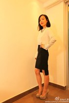 Zara shirt - YSL pumps - Zara skirt - vintage necklace