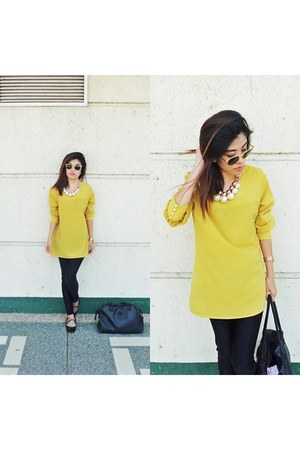 black Forever 21 leggings - black Guess bag - mustard Bayo blouse