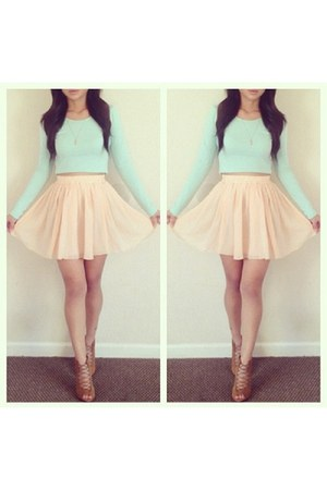peach skirt - bronze shoes - light blue shirt - gold cross necklace