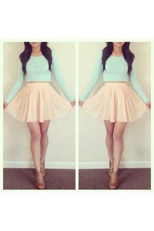 peach skirt - bronze shoes - light blue shirt - gold cross necklace