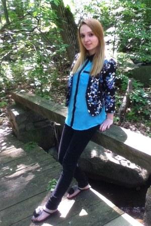 black studded pocket jeans - black floral Forever 21 blazer