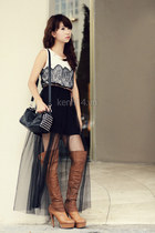 bronze boots - dark gray bag - black skirt - white top