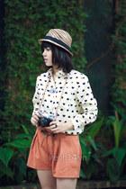 hat - light orange shorts - white blouse