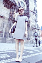 silver dress - sunglasses - light pink flats