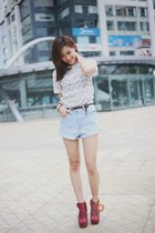white t-shirt - ruby red boots - sky blue shorts