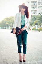 tan hat - dark brown shoes - white blazer - teal pants