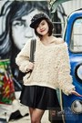 Black-hat-ivory-blouse-dark-gray-skirt