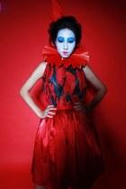 red unique dress