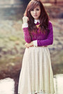White-lace-up-skirt-magenta-sweater-nude-heels