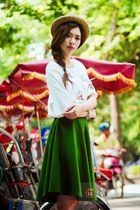 dark green skirt - white blouse