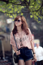 light pink knitted blouse - black bag - navy denim shorts shorts - glasses