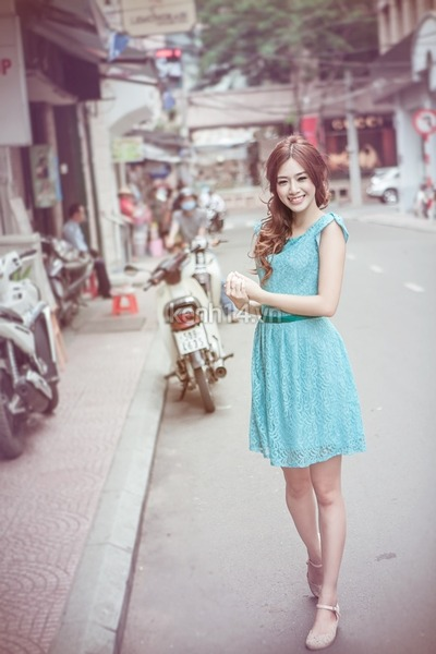 light blue lace up dress - beige shoes