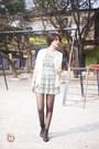 Black-boots-heather-gray-dress-white-cardigan