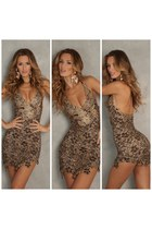 dark brown lace painting Couture dress