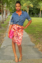 blue chambray cotton on shirt - hot pink ruffles f21 skirt